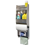Aluminum Cleanup Dual Shelf - Paper Towel - Glove Dispenser w/ Towel Bar