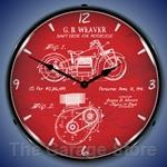 1941 Indian Motorcycle Patent LED Backlit Clock