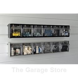 6 Bin - Tip Out Bins -Small Parts Storage for Slatwall - Pegboard